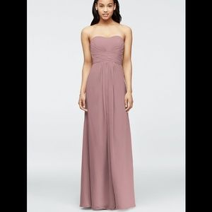 Bridesmaid Strapless Chiffon Pleated Bodice Dress